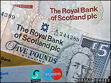 Scottish bank notes and bank cards