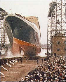 The launching of the Cunard liner QE2 on 20 September 1967 in Clydebank, Scotland.