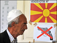 An ethnic Albanian man at a polling station in Kamenjane, Macedonia, 15 Jun 08