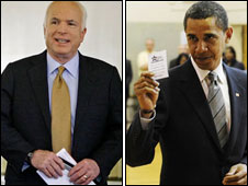 John McCain and Barack Obama voting on 4 November 2008