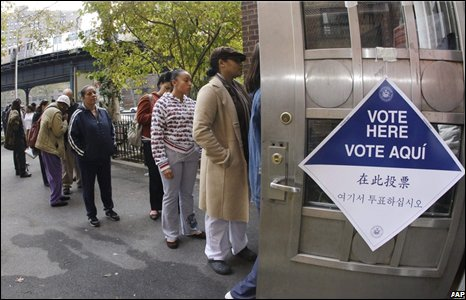 Voters queue to cast ballots in the Bronx borough of New York.