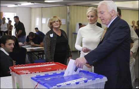 McCain and his wife Cindy vote in Phoenix, Arizona