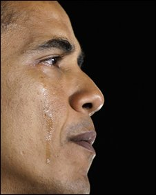 Senator Barack Obama sheds a tear as he talks about his grandmother on 3 November