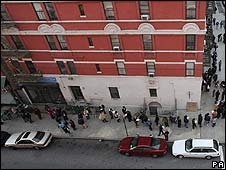 Line of voters in Harlem, New York