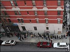 Line of voters in Harlem, New York