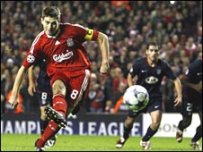 Steven Gerrard scores from the spot to equalise for Liverpool