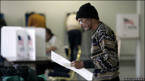 Voter at a US polling station
