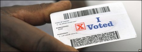 Vote US election card