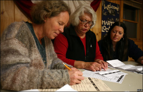 election officials tally up votes in Hart's Location, New Hampshire.