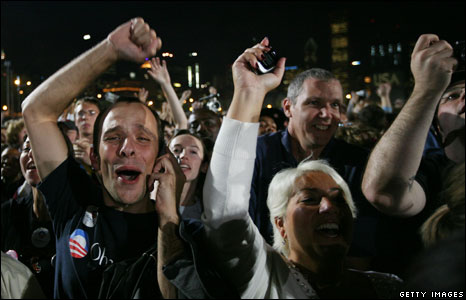 Obama supporters in Grant Park during an election-night gathering