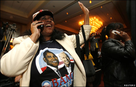 Democratic Party supporter Monica Stith reacts to results in the US presidential race in Columbus, Ohio