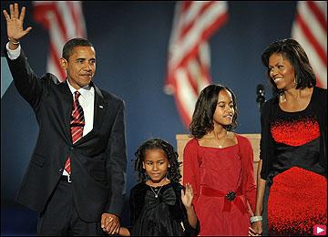 باراك اوباما مع اسرته