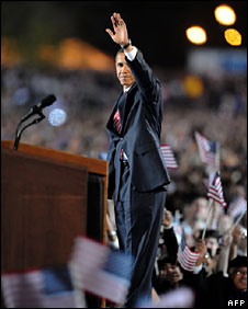 Barack Obama greets the crowd at Grant Park, Chicago, 4 Nov