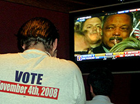 Man watching election results