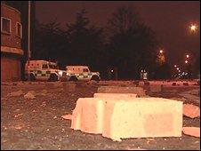 Bricks and police Land Rovers