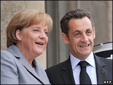 German Chancellor Angela Merkel and French President Nicolas Sarkozy. File photo