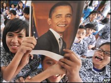 Students at the former primary school of US president-elect Barack Obama in Jakarta, Indonesia react to his victory on Wednesday