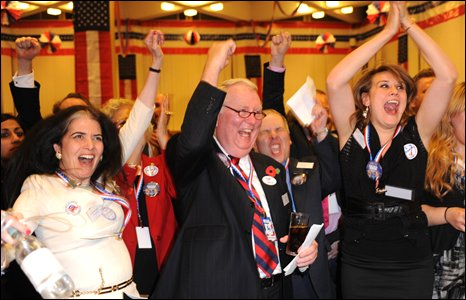 Cheering guests on US Embassy election night