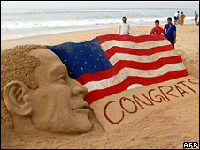 A sand sculpture congratulating Barack Obama by Indian sand artist in Puri, India