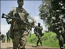 Rebels loyal to Laurent Nkunda in Rutshuru, DR Congo