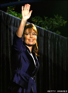 Sarah Palin leaves the stage