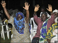 Kogelo residents watching the results on TV