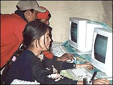Nepalise children using computers