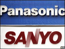 Panasonic and Sanyo signs