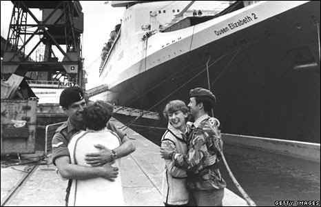 Soldiers say farewell to their loved ones before departing from Southampton for the Falkland Islands in 1982.
