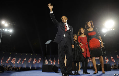 Barack Obama and his family arrive on stage for his election night victory rally at Grant Park