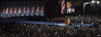 Obama durante su discurso de la victoria