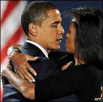 Барак Обама и его жена после победы на выборах