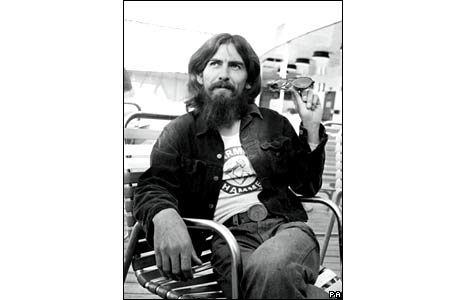 Former Beatle George Harrison onboard the liner in 1971.