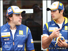 Fernando Alonso and team-mate Nelson Piquet Jr