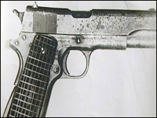 The Colt .45 automatic pistol used in the murder