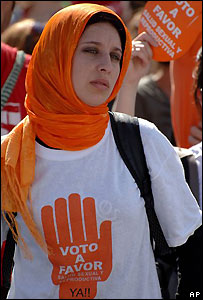 Manifestante a favor del aborto