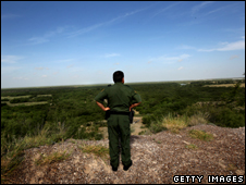 A US border patrol guard near the Rio Grande River, Laredo, Texas