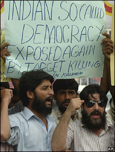 Protesters in Indian administered Kashmir