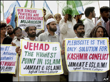 Hardline protesters in Kashmir 