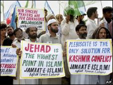 Hardline protesters in Kashmir