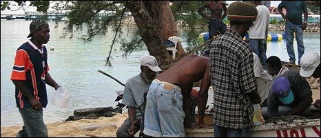 Fisherman on Ocho Rios beach, Jamaica