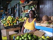 Vendor at food market