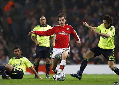 Aaron Ramsay, Arsenal, against Fenerbahce