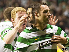 Celtic's Scott McDonald is congratulated on his first-half goal