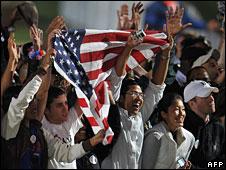 Supporters of Barack Obama in Chicago, 4 Nov 2008