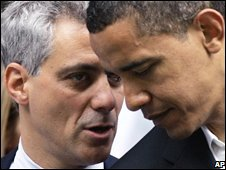 Rahm Emanuel (L) talks to Barack Obama, file photo from June 2008