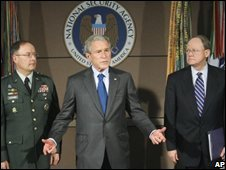 President Bush with National Security Agency Director Lt Gen Keith Alexander (L) and Director of National Intelligence Mike McConnell (R) at the National Security Agency at Fort Meade