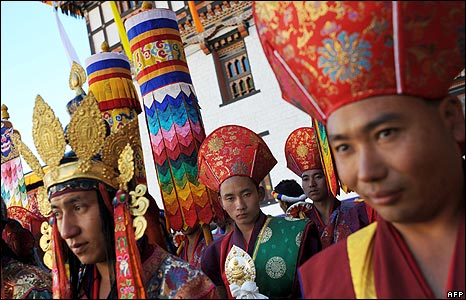 Dancers wait to perform at the Bhutan coronation