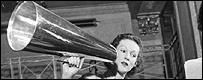 Lady using a megaphone