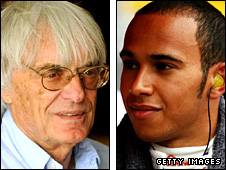 F1 boss Bernie Ecclestone (left) and Lewis Hamilton